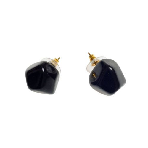 Jackie Brazil Abstract Camille Stud Earrings in Black Gloss